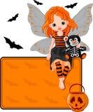Wenig Halloween-feenhafte Platzkarte Lizenzfreie Stockfotografie
