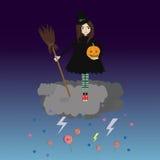 Wenig Halloween-Hexe Stockbild