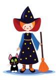 Wenig Halloween-Hexe mit Katze Stockfoto