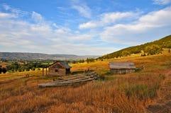 Wenig Haus auf dem Grasland Stockbilder