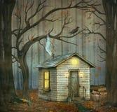 Wenig Haus in einem Märchenwald Stockfotografie