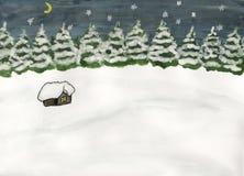 Wenig Haus im Wald im Winter stock abbildung