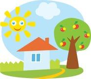 Wenig Haus und Apfelbaum lizenzfreie abbildung