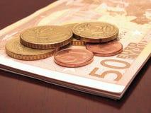 Wenig hundert Euro und Änderung Stockfotos