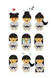 Wenig japanisches Karatemädchen im Kimono und in neun Gefühlen lizenzfreie stockbilder