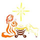 Wenig Jesus in der Krippe, betender Jungfrau Maria, Lamm und Stern lizenzfreie abbildung
