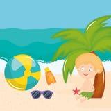 Wenig Junge mit Badeanzug auf dem Strandcharakter stock abbildung