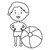 Wenig Junge mit Badeanzug- und Ballonstrand stock abbildung