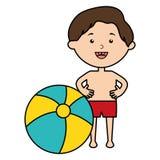 Wenig Junge mit Badeanzug- und Ballonstrand lizenzfreie abbildung