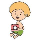 Wenig Junge mit Badeanzug und Kamera photographisch lizenzfreie abbildung
