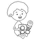 Wenig Junge mit Eiscreme und Kamera photographisch lizenzfreie abbildung
