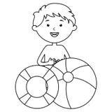 Wenig Junge mit Floss- und Ballonstrand lizenzfreie abbildung