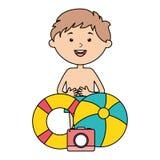 Wenig Junge mit Floss- und Ballonstrand stock abbildung