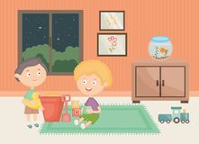 Wenig Jungen, die mit Spielwaren im Raum spielen lizenzfreie abbildung