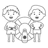Wenig Jungen mit Floss und Solarblockerprodukt stock abbildung