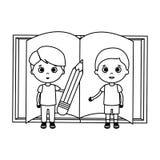 Wenig Jungenstudenten mit Buch stock abbildung