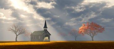 Wenig Kirche auf dem Grasland Lizenzfreie Stockbilder