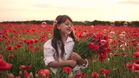 Wenig lächelndes Mädchen mit Blumenstrauß von den roten Mohnblumen, die auf dem geblühten Gebiet bei Sonnenuntergang stehen stock footage