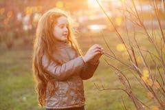 Wenig M?dchen, das im Sonnenlicht jungen gr?nen Baumast h?lt lizenzfreie stockfotos