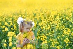 Wenig M?dchen romantisch auf dem Gebiet mit gelben Blumen stockfoto