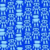Wenig nahtloses Muster der Roboterfront und -rückseite Stockbilder