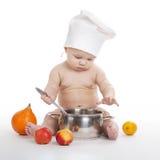 Wenig netter Koch auf weißem Hintergrund Stockbild