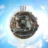 Wenig panoramische Vogelperspektive des Planeten der industriellen ungesunden Zone Lizenzfreie Stockfotografie