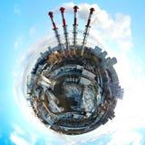 Wenig panoramische Vogelperspektive des Planeten der industriellen ungesunden Zone Stockbilder