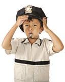 Wenig Polizei mit Pfeife Lizenzfreie Stockbilder
