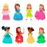 Wenig Prinzessinnen in den bunten schönen Kleidern und in den Goldkronen Nette lächelnde Königinnen Stellen Sie von den hübschen  lizenzfreie abbildung