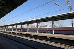 Wenig Ring der Moskau-Eisenbahnen ist 54 Augenhöhleneisenbahn 4-kilometre-long in Moskau Russland Lizenzfreie Stockfotografie