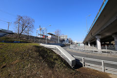 Wenig Ring der Moskau-Eisenbahnen ist 54 Augenhöhleneisenbahn 4-kilometre-long in Moskau Russland Stockfotos