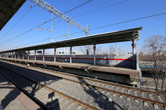 Wenig Ring der Moskau-Eisenbahnen ist 54 Augenhöhleneisenbahn 4-kilometre-long in Moskau Russland Stockfoto