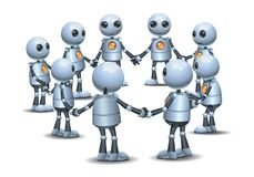 Wenig Roboter, der die Hand macht Kreis in der Gruppe hält stock abbildung