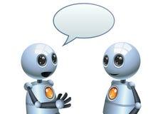 Wenig Robotergesprächsillustration auf lokalisiertem weißem Hintergrund Stockbild