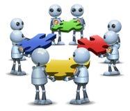 Wenig Robotergruppenversuch zu Verbindungspuzzlespiel lizenzfreie abbildung