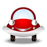 Wenig rotes Auto auf weißem Hintergrund Stockfotografie