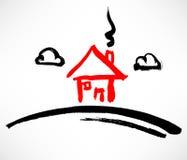 Wenig rotes Haus auf dem Hügel lizenzfreie abbildung