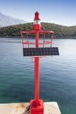 Wenig rotes Leuchtfeuer, Solar angetrieben Lizenzfreie Stockfotos