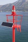 Wenig rotes Leuchtfeuer, Solar angetrieben Lizenzfreies Stockbild