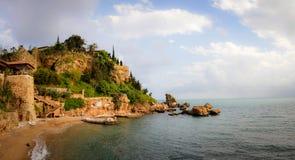 Wenig Schloss auf einem Strand von Antalya Stockbilder