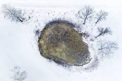 Wenig Teich im kalten Winter lizenzfreie stockfotos
