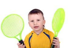Wenig Tennisspieler stockfotografie
