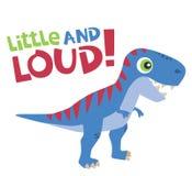 Wenig und lauter Text mit nettem Tyrannosaurus Rex Baby Dinosaur Vector Illustration lokalisierte auf Weiß stockfoto