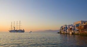 Wenig Venedig auf Mykonos am Sonnenuntergang Stockfoto