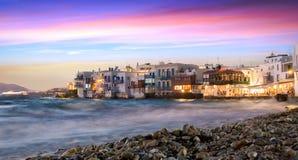 Wenig Venedig in Mykonos-Stadt, Griechenland Stockfotos