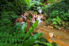 Wenig Wasserfall im Park Lizenzfreies Stockfoto