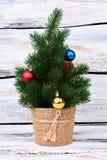 Wenig Weihnachtsbaum mit Flitter lizenzfreies stockbild
