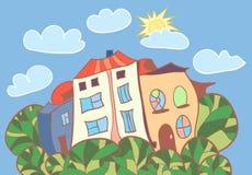 Wenige Karikaturhäuser Stockfoto