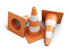 Wenige Verkehrskegel lokalisiert auf einem weißen Hintergrund 3d übertragen imag Stockbilder